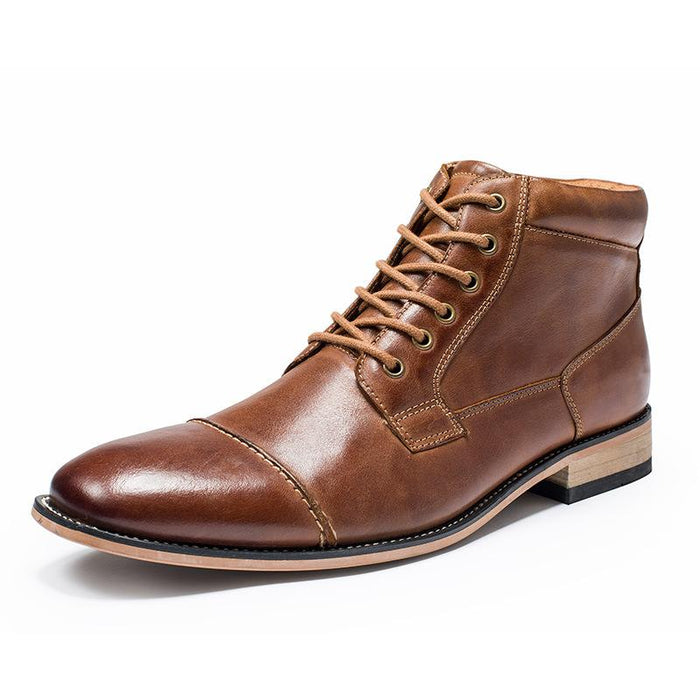 UniteMen Classic Men's Cap Toe Leather Boots