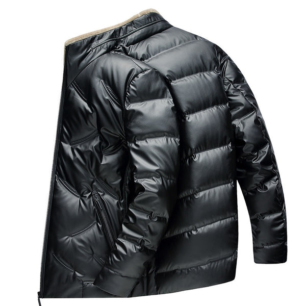 Men's Lightweight Down Jacket With Wool Collar