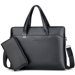 Genuine Leather Laptop Messenger Bag - Premium Office Briefcase