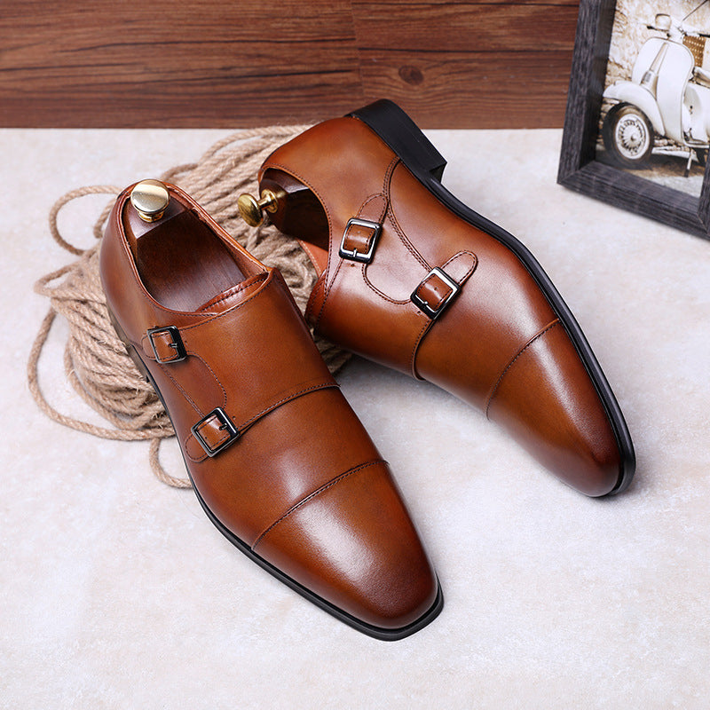 Genuine Leather Double Strap Monk Shoes