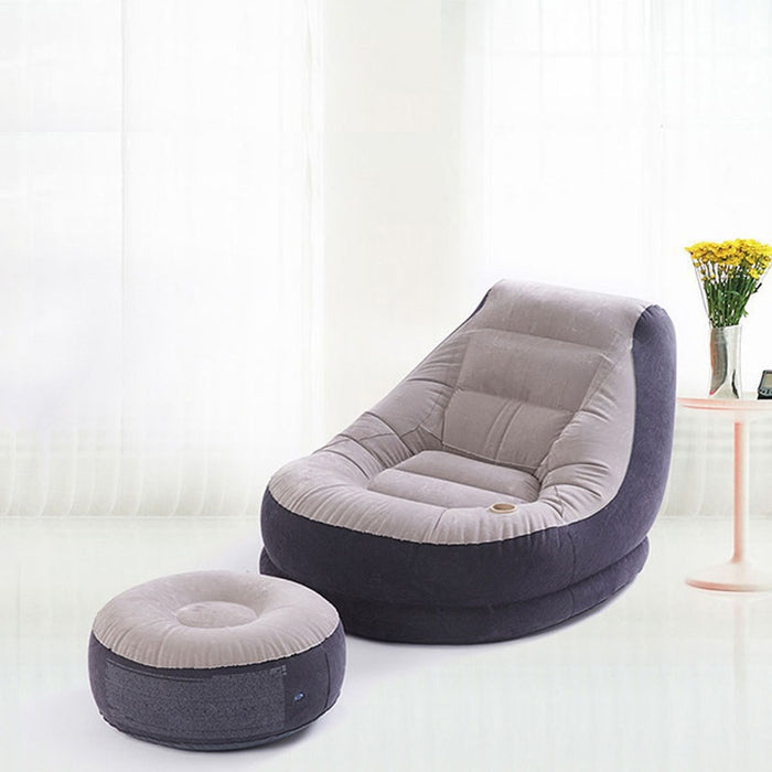 UniteMen Inflatable Flocking Single Lazy Sofa with Footstool Chair