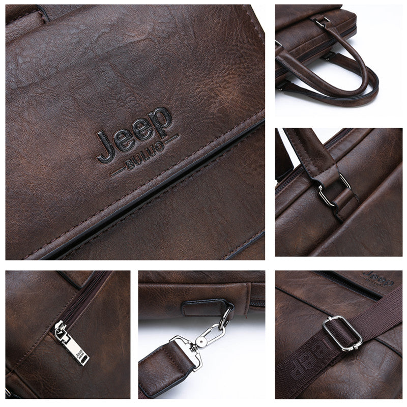 GENUINE LEATHER BUSINESS BRIEFCASE
