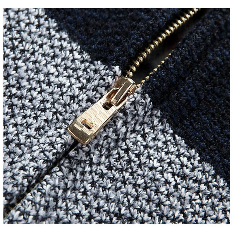 Spring Autumn Gradient Knitted Zipper Jacket