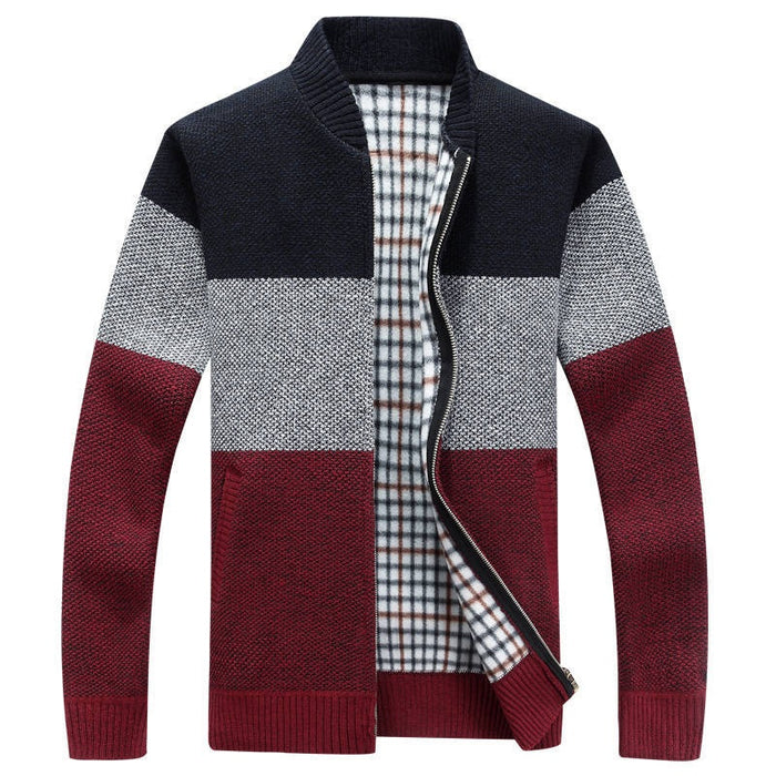 UniteMen Spring Autumn Gradient Men's Knitted Zipper Jacket