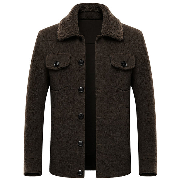 MEN'S GRANULATED WOOL SHORT FUR COAT