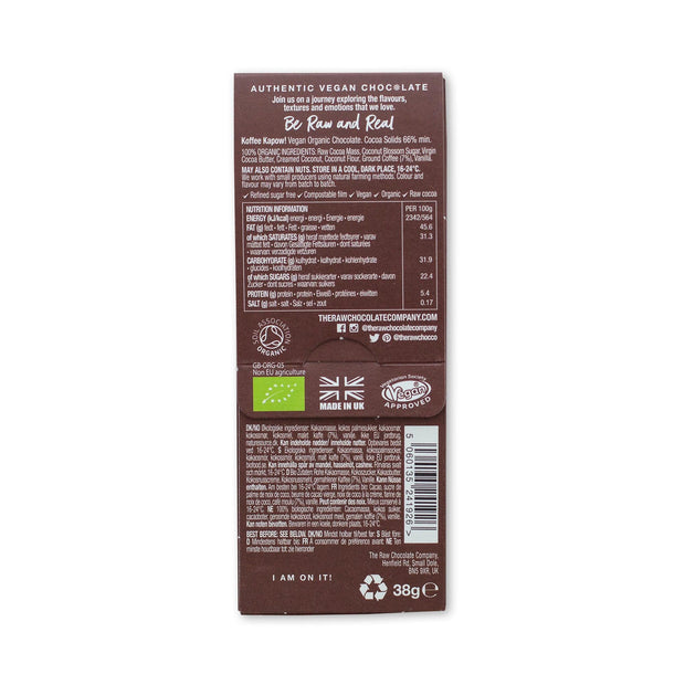 The raw chocolate / Tablette 38g de chocolat noir cru & café