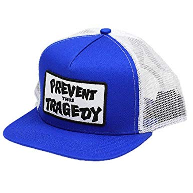 THRASHER TRUCKER CAP PREVENT THIS TRAGEDY BLUE