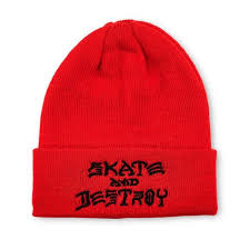 THRASHER BEANIE SAD EMBROIDERED RED