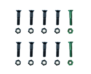 "Sunday 1"" Anodized Green & Black Hardware 10 Pack"