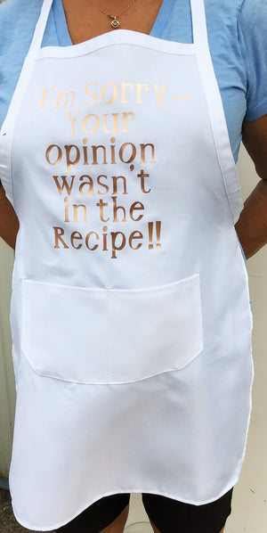 White Apron with Rose Gold