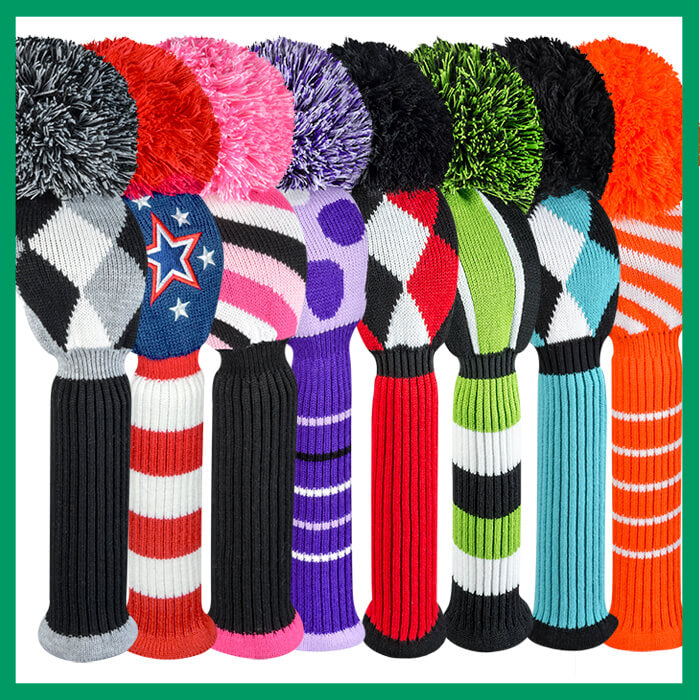 Just 4 Golf Colorful Knit Golf Club Covers Accessories Par Fect