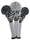 Leopard Head Cover Set - Gray, Black, White