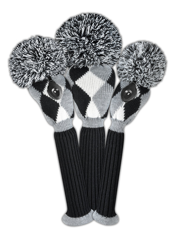 Diamond Headcover Set - Gray, Black, White