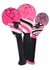 Diagonal Stripe Headcover Set - Pink, Black, White