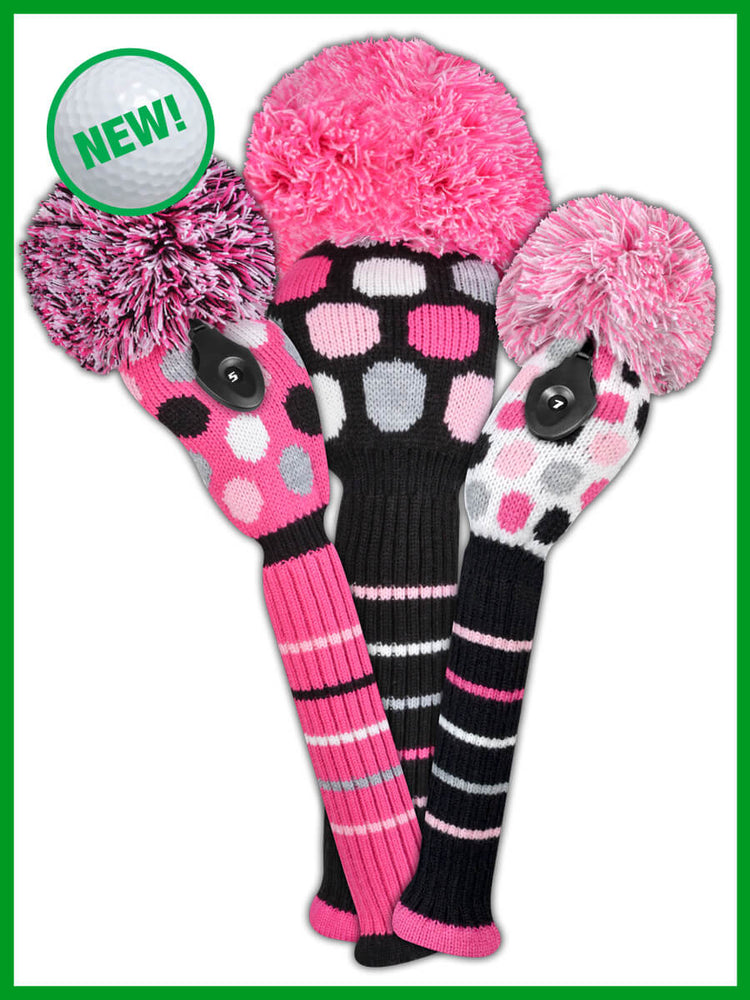 Dot Headcover Set - Pink, White, Black - BACK IN STOCK IN APRIL