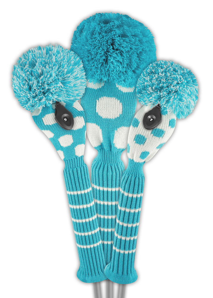 Dot Headcover Set - Turquoise & White - New!