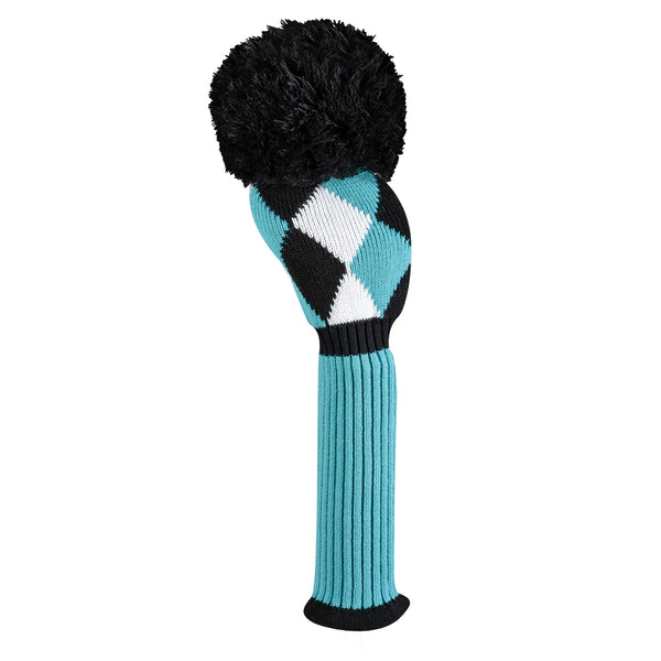 Diamond Driver Headcover - Turquoise, Black & White