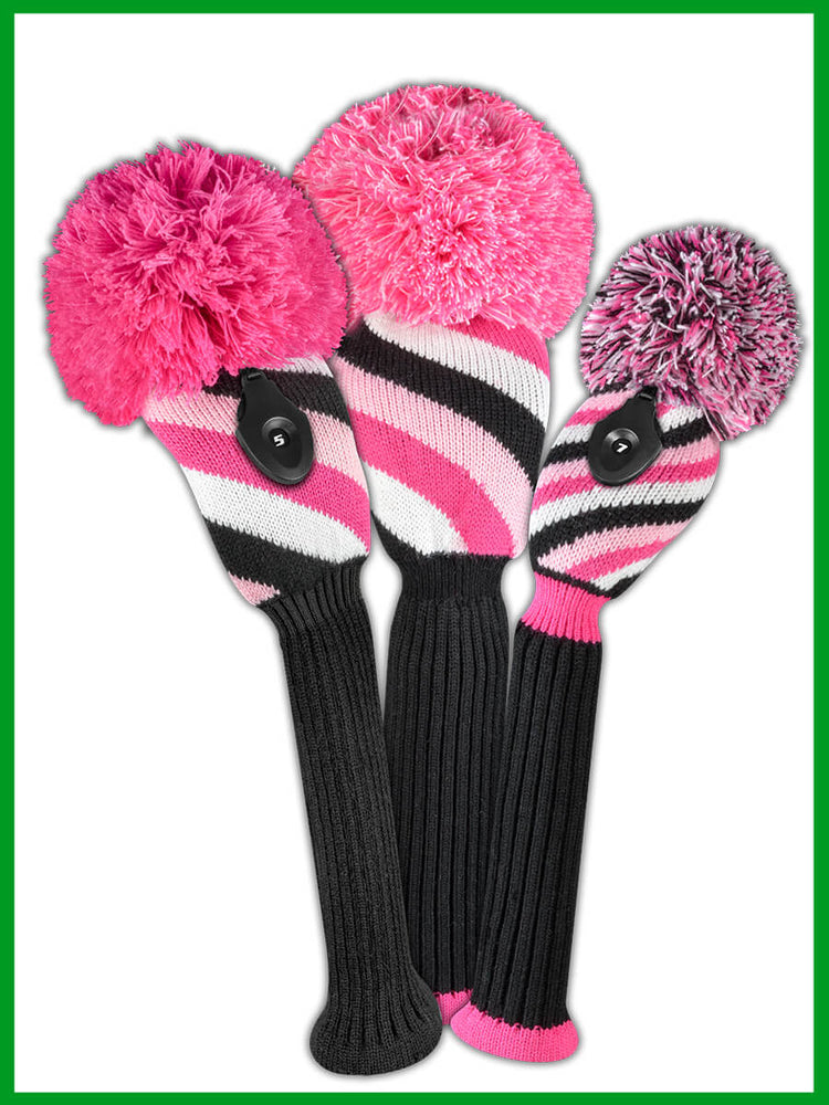 Diagonal Stripe Pink, Black, White Driver, Fairway, Hybrid Set