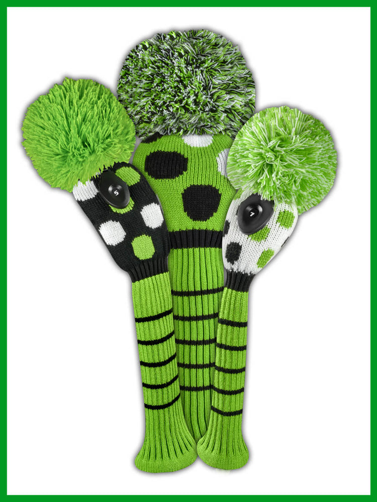Large Multi Dot Headcover Set - Lime, Black, & White