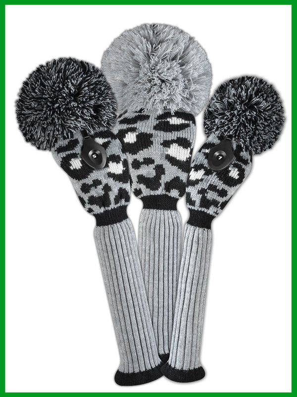 Leopard Gray, Black, White Head Cover Set