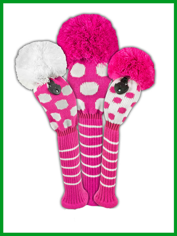 Dot Headcover Set - Pink & White