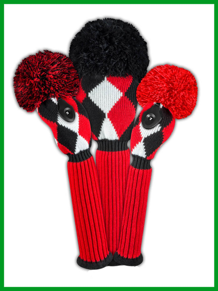 Diamond Headcover Set - Red, Black & White