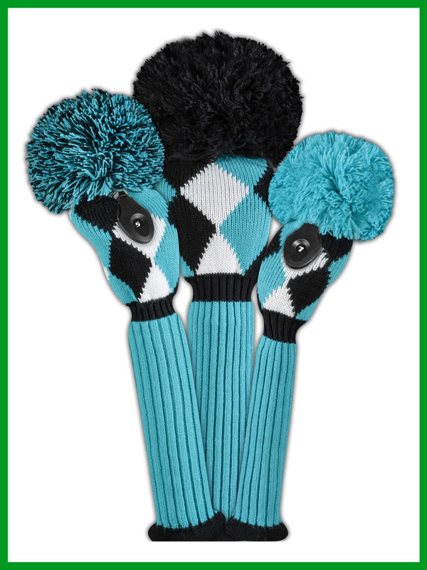 Diamond Headcover Set - Turquoise, Black & White
