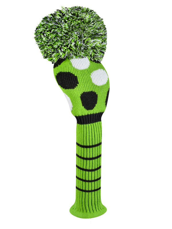 Lime Multi Dot Driver Headcover - Lime, Black, & White