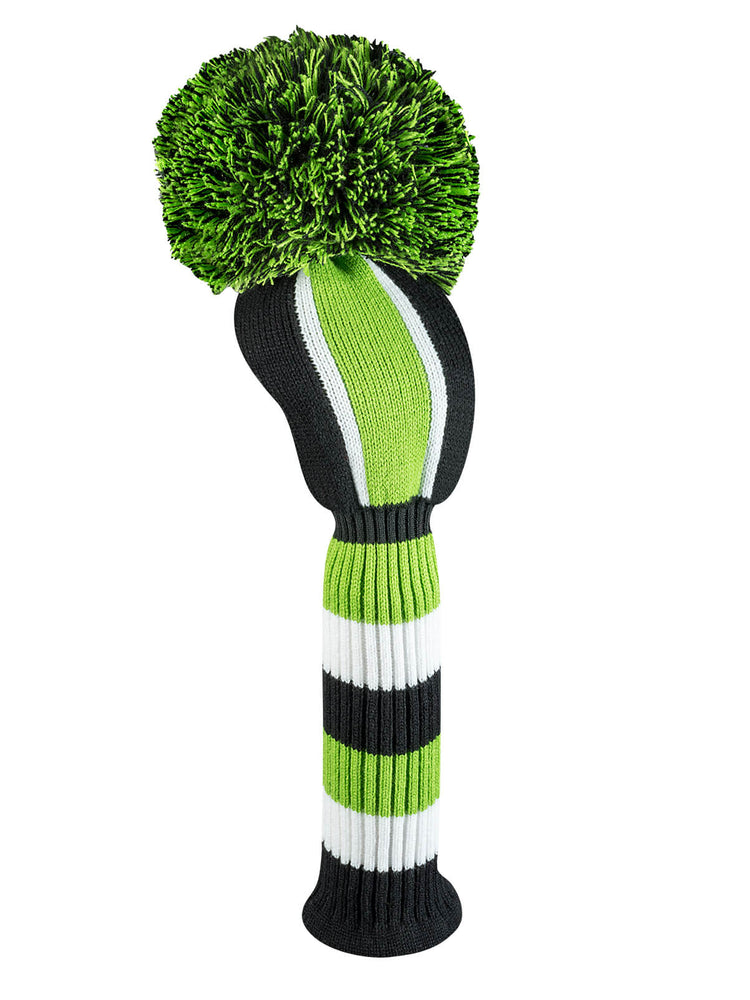 Vertical Stripe Driver Headcover - Lime, Black, & White