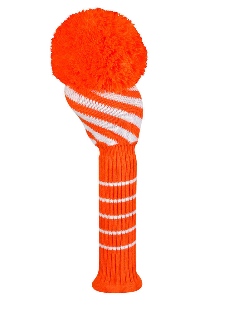 Wide Diagonal Stripe Orange and White Driver Cover