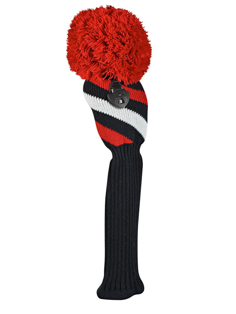 Diagonal Stripe Fairway Headcover - Red, Black, & White