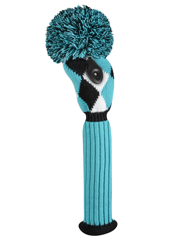 Diamond Fairway Headcover -Turquoise, Black, & White