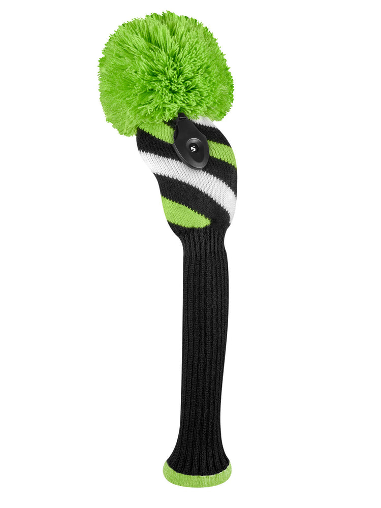 Diagonal Stripe Fairway Headcover - Black, Lime Green, & White