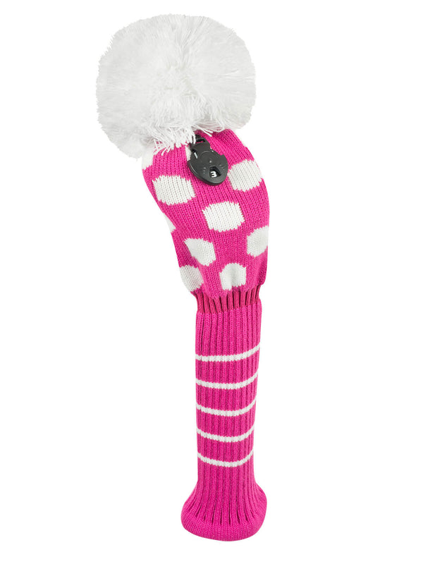 Medium Dot Fairway Headcover - Pink & White