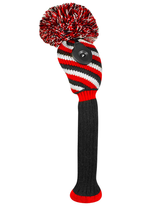 3 Color Diagonal Stripe Hybrid Headcover - Red, Black, & White