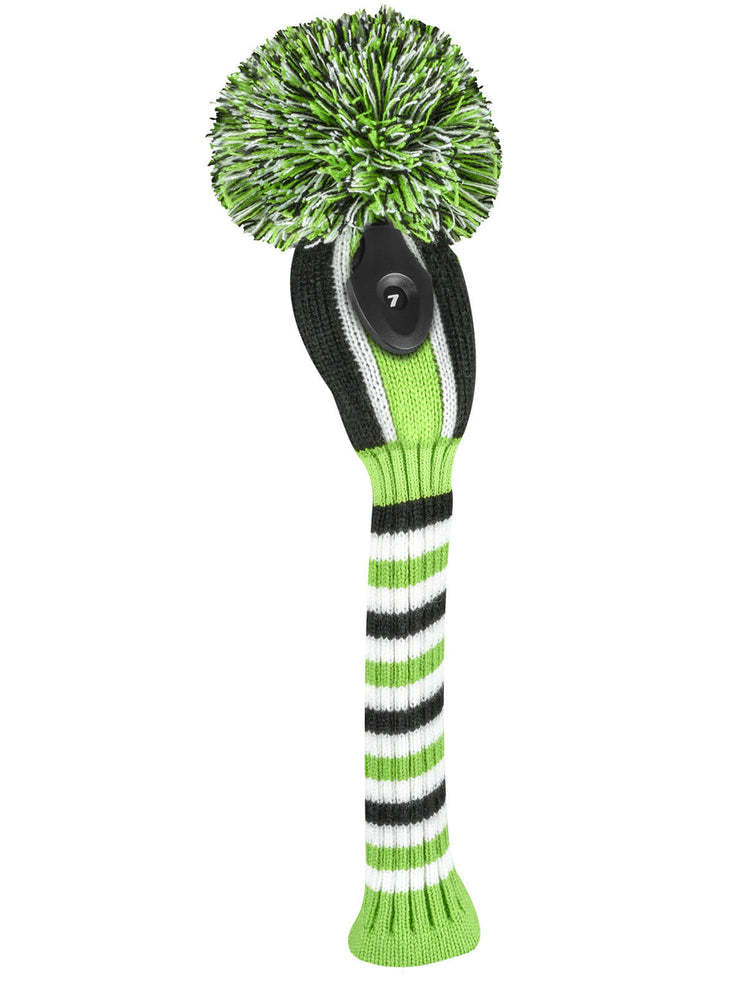 Vertical Stripe Hybrid Headcover - Lime, Black, & White