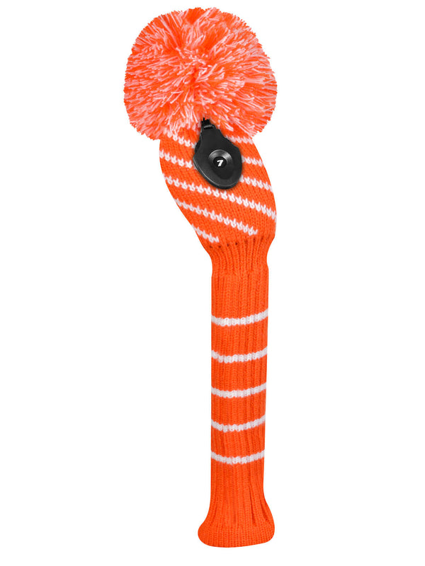 Narrow Diagonal Stripe Orange and White Hybrid Head Cover