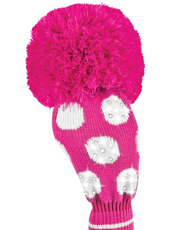 Sparkle Large Dot Driver Headcover - Pink & White