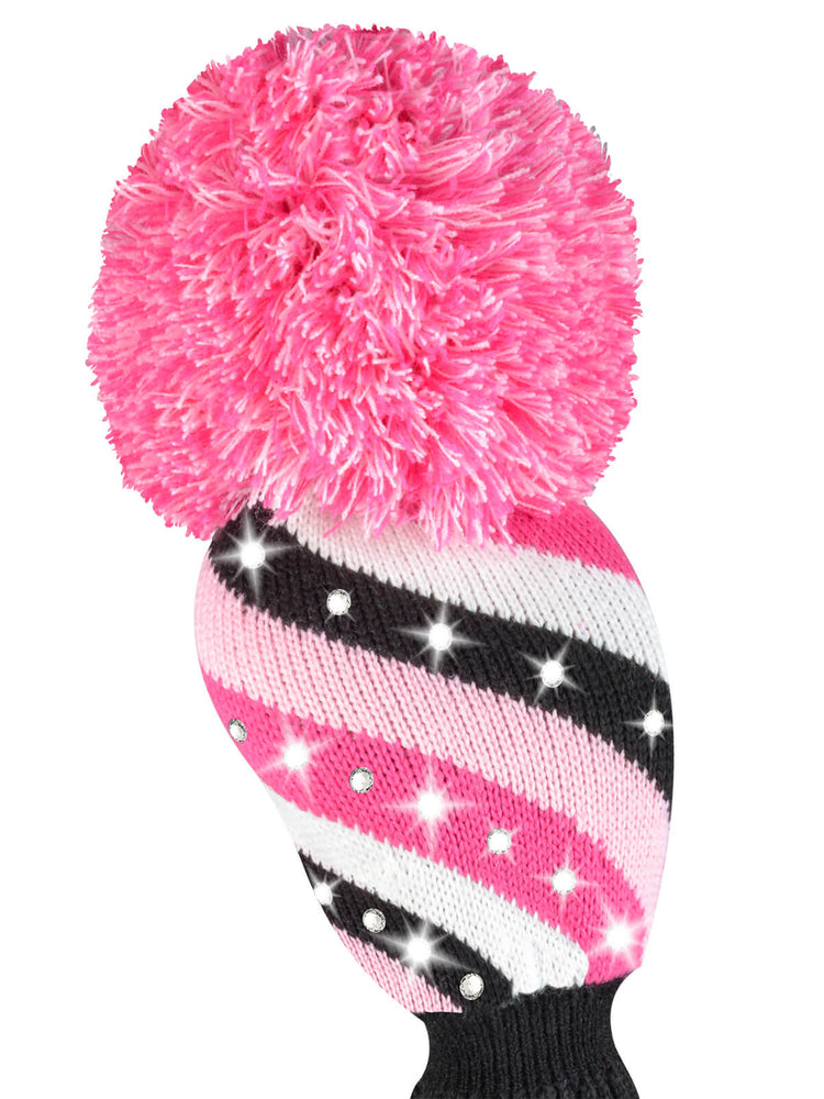 Sparkle Diagonal Stripe Driver Headcover - Pink, Black, White