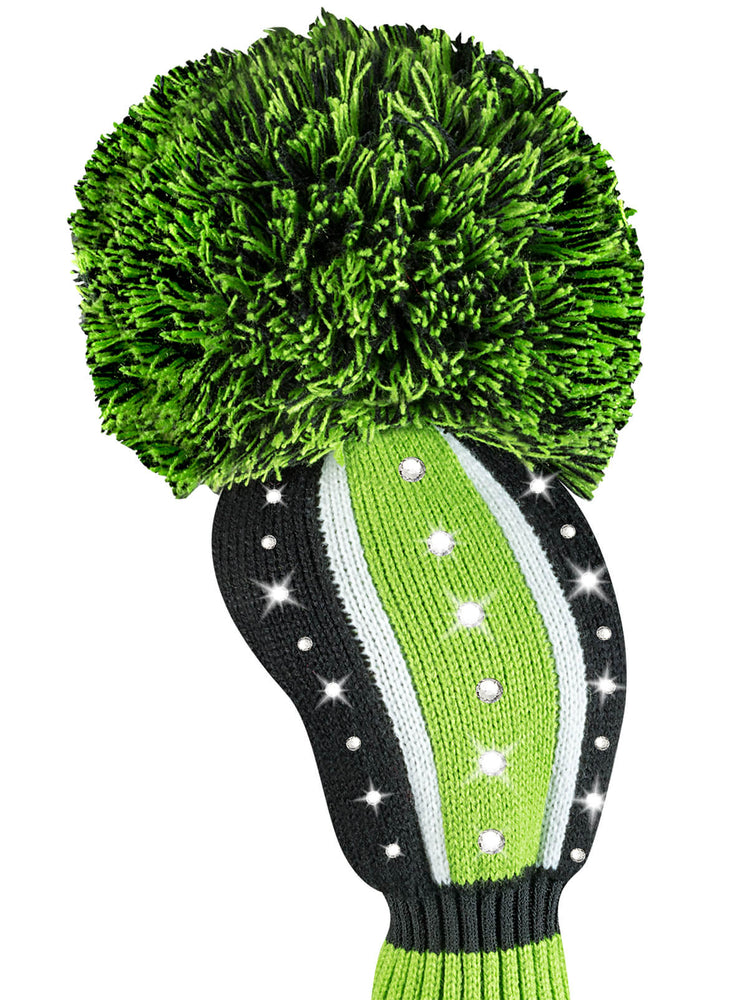 Sparkle Vertical Stripe Driver Headcover - Lime, Black, & White