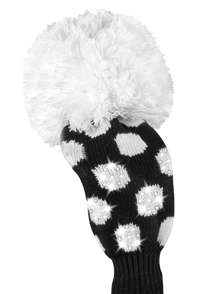 Sparkle Medium Dot Fairway Headcover - Black & White