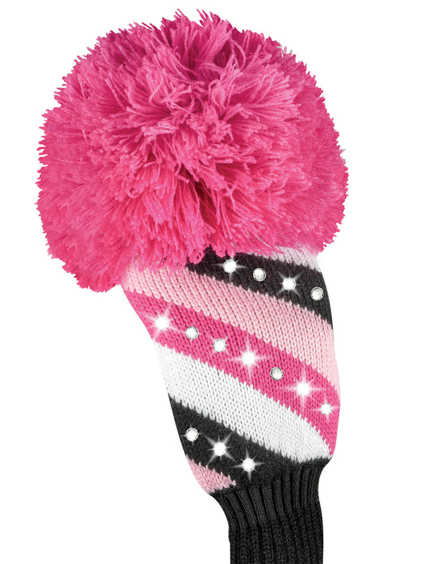 Sparkle Diagonal Stripe Fairway Headcover - Pink, Black, & White