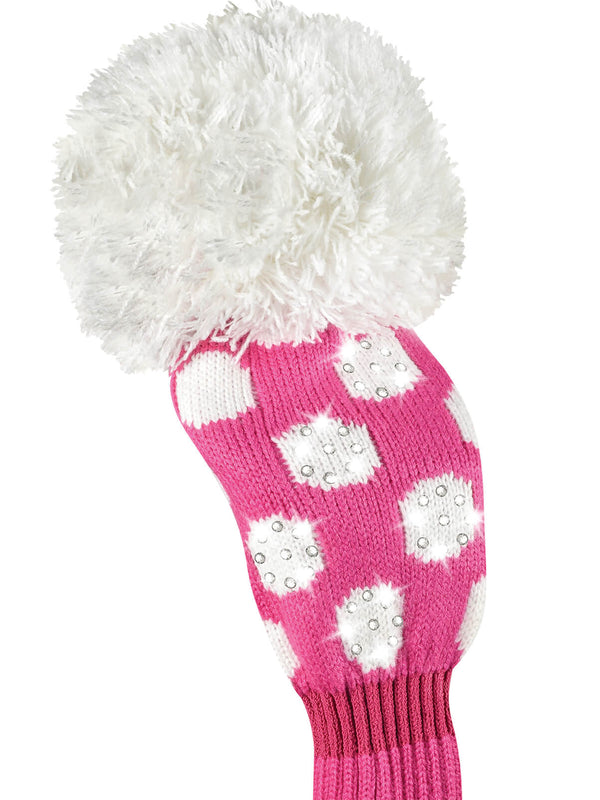 Sparkle Medium Dot Fairway Headcover - Pink & White
