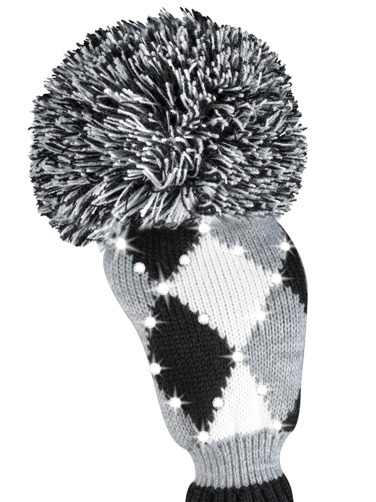 Sparkle Diamond Fairway Headcover  Gray, Black, & White