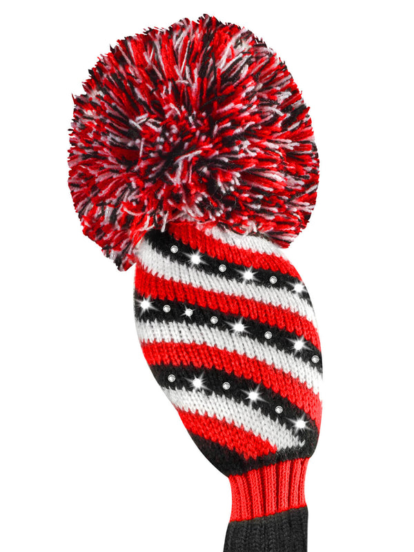 Sparkle 3 Color Diagonal Stripe Hybrid Headcover - Red, Black, & White