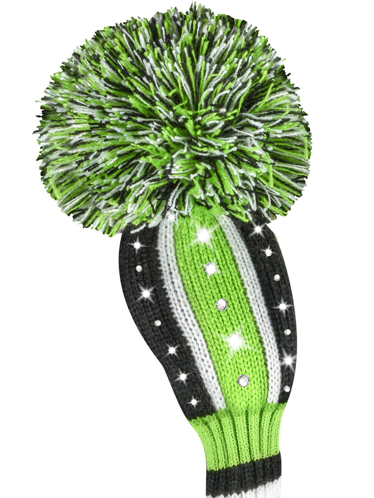 Sparkle Vertical Stripe Hybrid Headcover - Lime, Black, & White - SOLD OUT