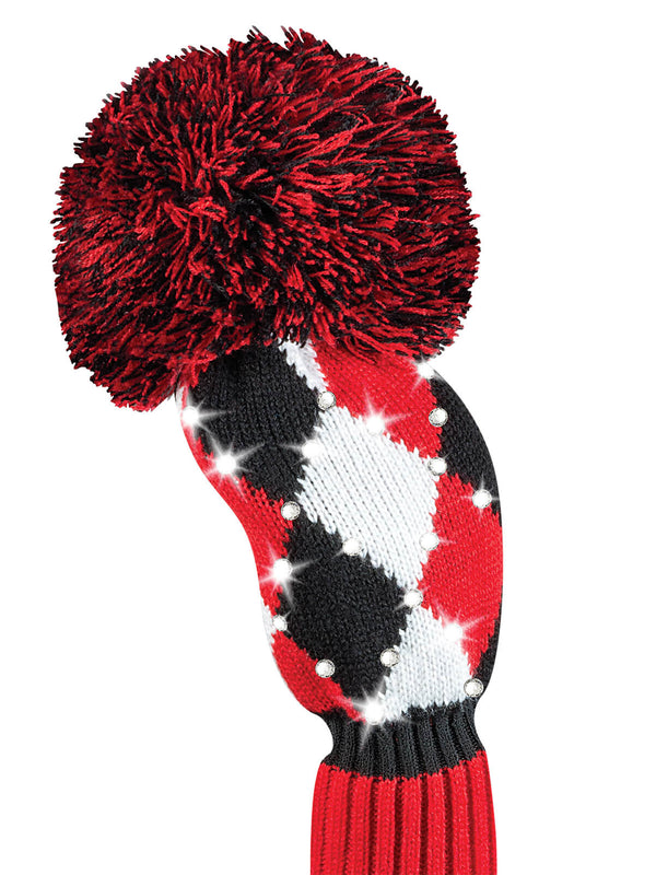 Sparkle Diamond Fairway Headcover - Red, Black, White