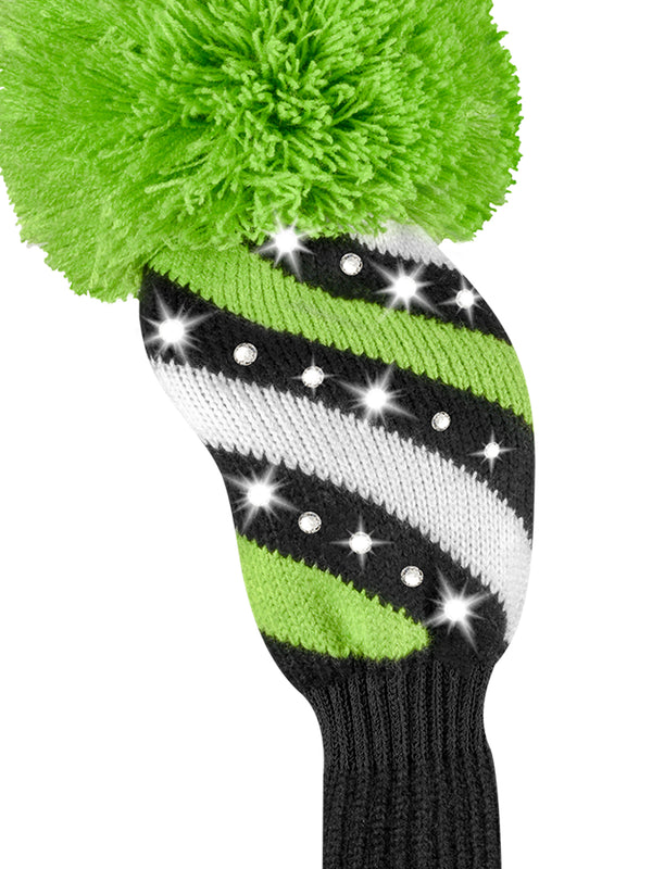 Sparkle Diagonal Stripe Fairway Headcover - Black, Lime, & White