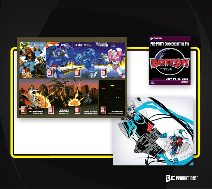 BLACK FRIDAY BUNDLE BotCon 2020 Pin, Uncut Trading Card sheet, & Mask - Starting at $9.99