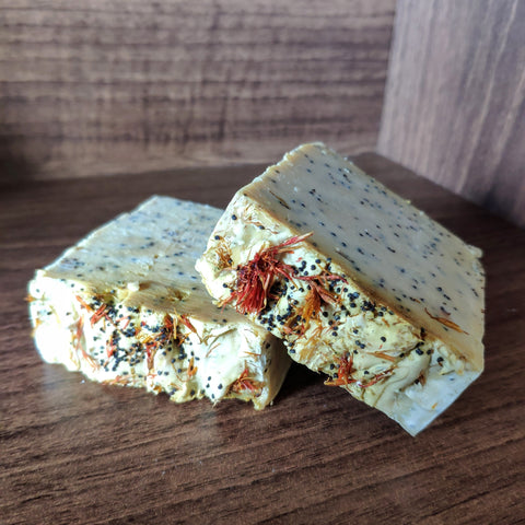 Olive Oil Bar Soap with Safflower and Poppy Seeds - The Druid's Kitchen
